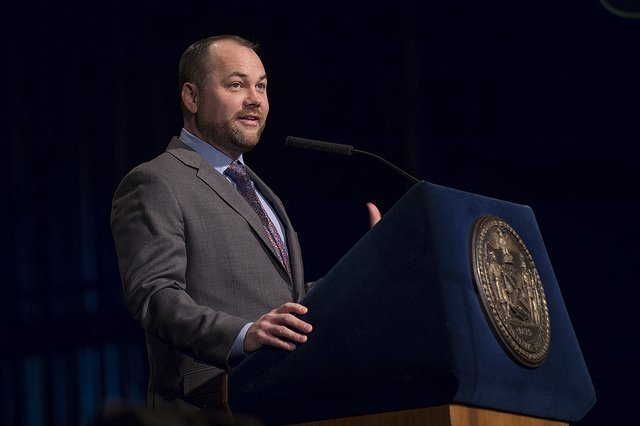 Corey Johnson delivers his State of the City Address (Credit: Jeff Reed)